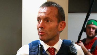 Opposition leader Tony Abbott tours Campbelltown police station