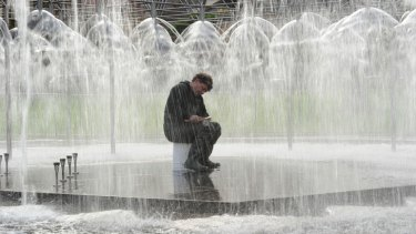 Maintenance and cleaning is carried out on the Coles Fountain in Spring Street. This year, lord mayor Robert Doyle is spending $900,000 resurrecting Melbourne's fountains.
