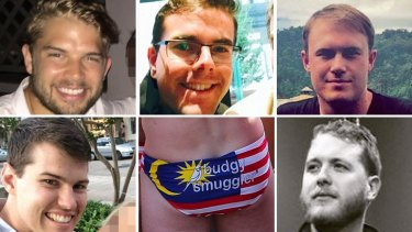 Five of the Australians in trouble in Malaysia over wearing budgie smugglers with the Malaysian flag on them (clockwise from top left): Edward Leaney, Timothy Yates, Tom Laslett, Jack Walker and James Paver.