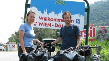 Frederike and Guy Moodie prepare to enter Austria with their bicycles.