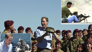 Friendly rivalry ... Prince William takes aim at Holsworthy Army Barracks, top right, and mixes with soldiers, centre, before greeting Aboriginal dancers at Mrs Macquaries Point, bottom left.