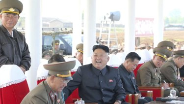 Out of sight: North Korean leader Kim Jong-un in May.