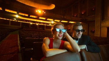 Spectacles: Opera stars Emma Muir-Smith and Nathan Lay try out the 3D glasses for the Victorian Opera's new production of Wagner's <i>The Flying Dutchman</i> at the Palais.