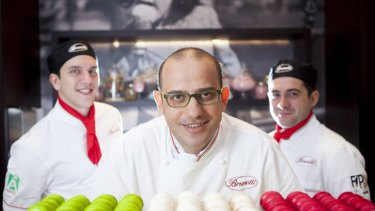 Brunetti executive savoury chef Giuseppe Santoro (centre), Francesco Inga (left) and Valerio Mollica, who were among 20 specialist staff hired for the new venue.