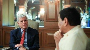 Australia's top overseas spy chief meeting President Rodrigo Duterte in the presidential palace in Manila.