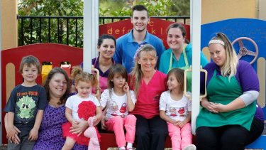 Tania Sewell (in pink) is the director of Sanctuary Lakes Childrens Services in Point Cook.