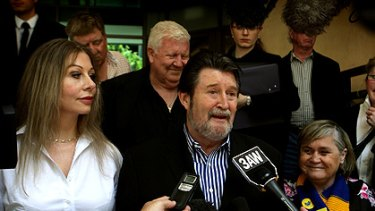 Derryn Hinch and his wife Chanel (left) outside the Melbourne Magistrates Court.