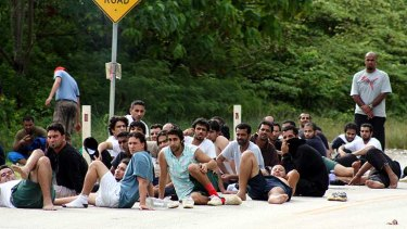 A group of asylum seekers who escaped the detention centre on Christmas Island.