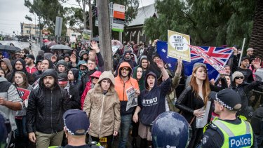 A mass police presence tried to keep apart right and left-wing political groups in Coburg for the rally on Saturday.