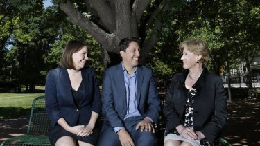 Anna Rose with her husband Simon Sheikh, and Federal Greens leader Christine Milne.