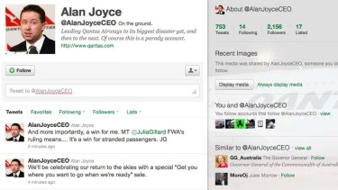 A parody Twitter account lampooning Qantas CEO Alan Joyce.