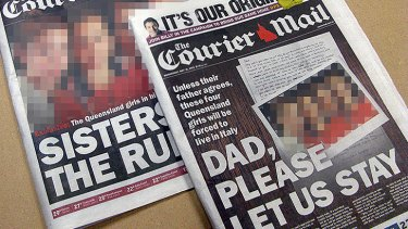 The Courier-Mail's coverage of the custody dispute on May 15 and 16, 2012.