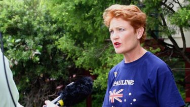 Pauline Hanson  ...  red faced.