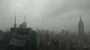 Sandy as seen from a Manhattan webcam.