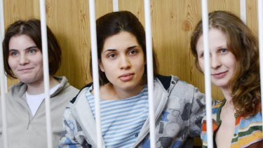 Jailed Pussy Riot members (from left) Yekaterina Samutsevich, Nadezhda Tolokonnikova and Maria Alyokhina.