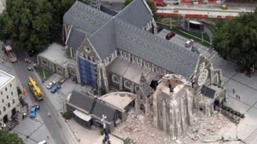 The Cathedral with its spire missing after the earthquake.