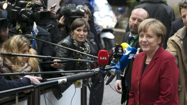 German Chancellor Angela Merkel arrives for the Brussels summit on Thursday.