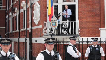 Julian Assange addressing the media last week from the balcony of the Equador embassy.