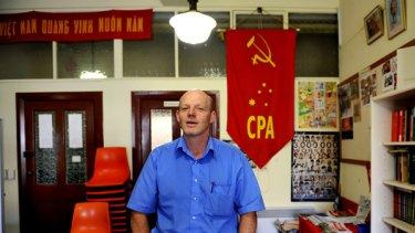Victorian state branch secretary Andrew Irving in the Melbourne office of the Communist Alliance party, which has applied for federal electoral registration.