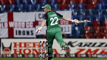 Kevin O'Brien celebrates his record-fastest World Cup century.