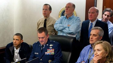 US President Barack Obama, Secretary of State Hillary Clinton and security officials watch events in Pakistan unfold.