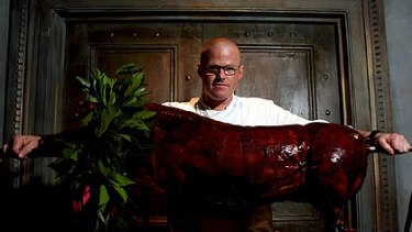 Authentic ... Heston Blumenthal with a 'dish' from his Roman feast.