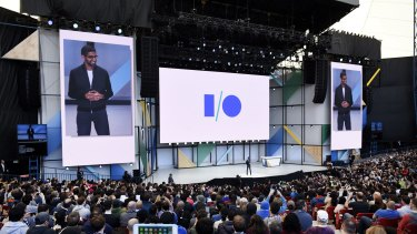 Sundar Pichai, chief executive officer of Google, speaks at Google I/O.