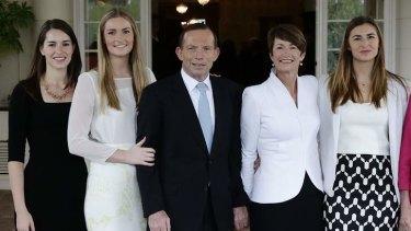The Abbott family: Louise, Bridget, Prime Minister Tony Abbott, Margie and Frances.