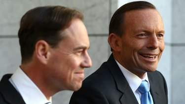Victors: Tony Abbott and Environment Minister Greg Hunt.