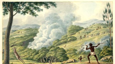 Working the land ... Joseph Lycett's c.1817 watercolour, Aborigines Using Fire to Hunt Kangaroos, depicts the innovative use of fire burning.
