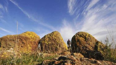 Victoria's Stonehenge? Reg Abrahams at the stone arrangement outside Geelong.