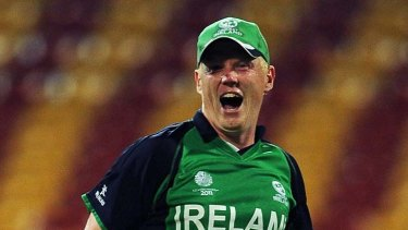 Quickest ever century ... Kevin O'Brien blasted Ireland to victory.