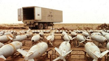Chemical warfare agent filled aerial bombs await destruction at Muthanna complex Iraq in an undated file photo.