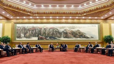 Chinese President Xi Jinping, centre right, at the signing ceremony for the Articles of Agreement of the Asian Infrastructure Investment Bank at the Great Hall of the People in Beijing.