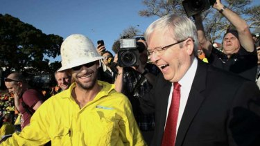 Kevin Rudd makes his high-vis appearance.