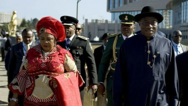 Nigerian President Goodluck Jonathan with his wife Patience.