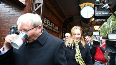 Prime Minister Kevin Rudd visited the Puffing Billy steam train with local MP Laura Smyth in Melbourne on Friday.