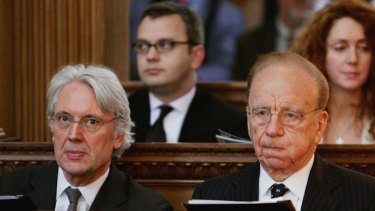 News of the World scandal ... from left,  Les Hinton, Andy Coulson, Rupert Murdoch and Rebekah Wade in 2005.