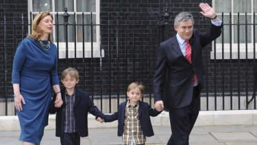 Gordon Brown leaves 10 Downing Street after his resignation in 2010  with  his wife Sarah and children John and  Fraser.