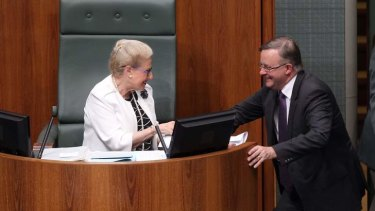 Speaker Bronwyn Bishop speaks with Labor MP Anthony Albanese after a division. Photo: Alex Ellinghausen