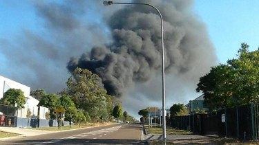 A fire rages in Carole Park. Photo: Michael Best, Channel 9 via Twitter