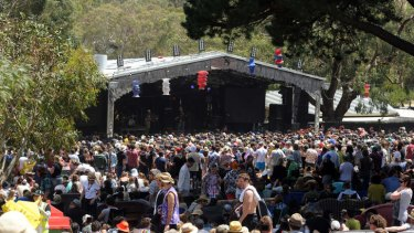 Crowds gather around the main stage at Meredith Music Festival.