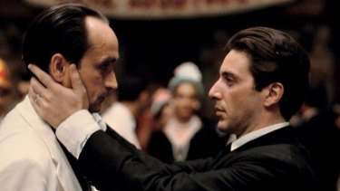 Fredo (John Cazale) and Micheal Corleone (Pacino) in <i>The Godfather: Part II</i>.