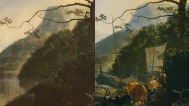 Sam Leach's painting which won this year's Wynne Prize (left). The 17th-century painting by Dutch artist Adam Pynacker (right).