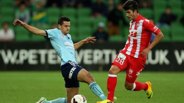 Belief: Sydney FC's Joel Chianese fights for the ball.