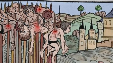 Vlad II watches on in a scene of impalement taken from a Germanic illustration.