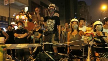 Pro-democracy protesters rally in Mong Kok after being told to clear the streets by Monday.