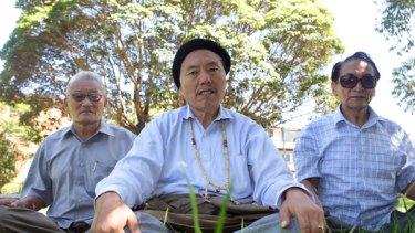 Served 53 years' jail...(left) Abu Gaga, Sonam Topgyal, Sonam Choepal in Sydney this week.