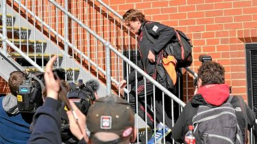 Essendon coach James Hird arrives at Windy Hill this afternoon.