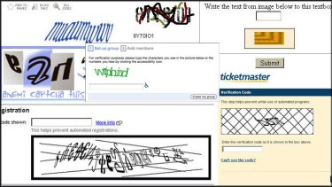 A mix of hard to read CAPTCHAs from the web.